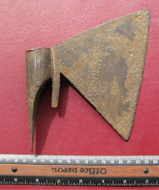 Ancient Large Engraved 16th C.  Iron Ottoman Axe Rt 70 photo