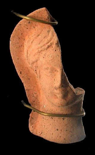 Rare Ancient Roman Era Terracotta Head Of A Woman Israel Holy Land ~religious? photo