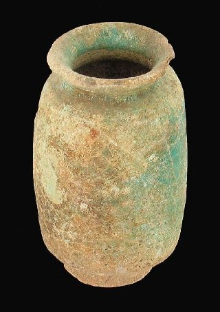 Ancient Roman Glazed Terracotta Jar Excavation Israel Holy Land photo