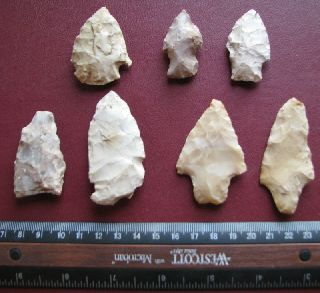 American Indian 7 Arrowheads Points From Arkansas 7233 photo
