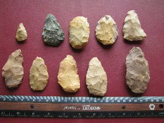 American Indian 10 Scrapers Points Knives Arkansas 7256 photo