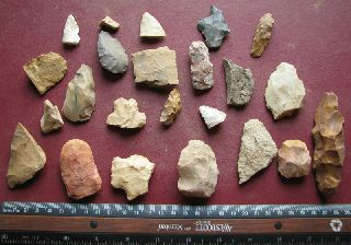 American Indian 20 Scrapers Points Knives Arkansas 7273 photo