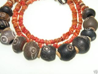Pre Columbian Eyes Beads & Orange Spondylus Beads photo