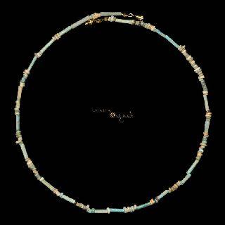 Ancient Egyptian Glazed Faience Mummy Bead Necklace Jewellery 021546 photo