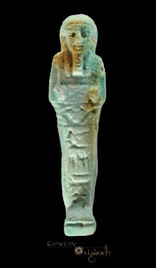 Ancient Egyptian Hieroglyphic Glazed Faience Shabti Ushabti Hieroglyph 024499 photo