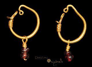 Ancient Roman Garnet Pendant Earrings Earring 022705 photo