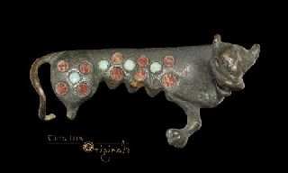Ancient Romano British Reclining Leopard Enamelled Animal Brooch 023095 photo