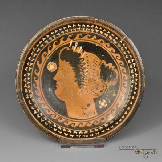 Ancient Greek Apulian Female Bust Black Plate 020806 photo