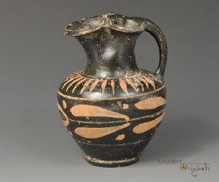 Ancient Greek Apulian Black Glazed Oinochoe Jug 020817 photo