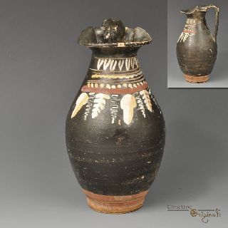 Ancient Greek Apulian Black Glazed Oinochoe 020809 photo
