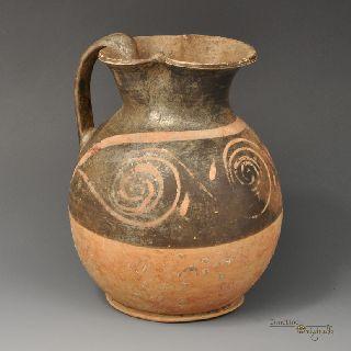 Ancient Greek Apulian Black Glazed Oinochoe Jug 020818 photo