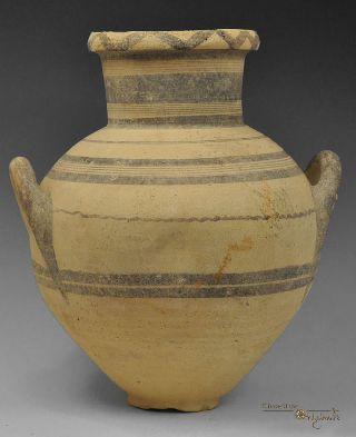 Large Ancient Cypro Archaic I Bichrome Ware Ceramic Amphora 023426 photo
