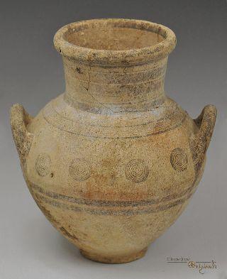 Ancient Cypro Archaic I Bichrome Ware Ceramic Amphora 023427 photo