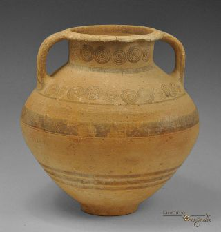 Ancient Cypro Archaic I Bichrome Ware Ceramic Amphora 023428 photo