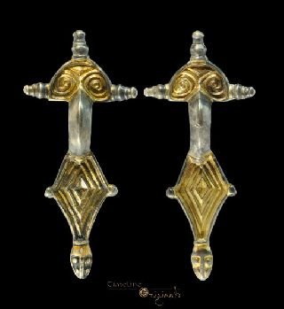 Rare Gothic Gilt Radiate Headed Bow Brooch Pair Jewellery Fastener 022116 photo
