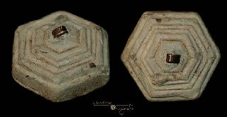Medieval Hexagonal Lead Steelyard Weight 015048 photo