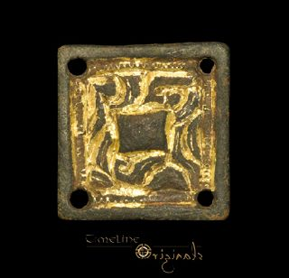 Anglo - Saxon Beastman Chip Carved Gilt Mount 022721 photo