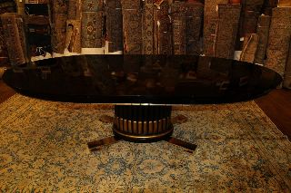 Paul Frankl Ebonized American Art Deco Dining Table W 2 Leaves C1930 photo