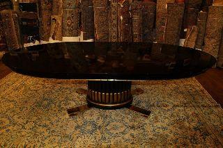 Paul Frankl Ebonized American Art Deco Dining Table W 2 Leaves C1930 photo