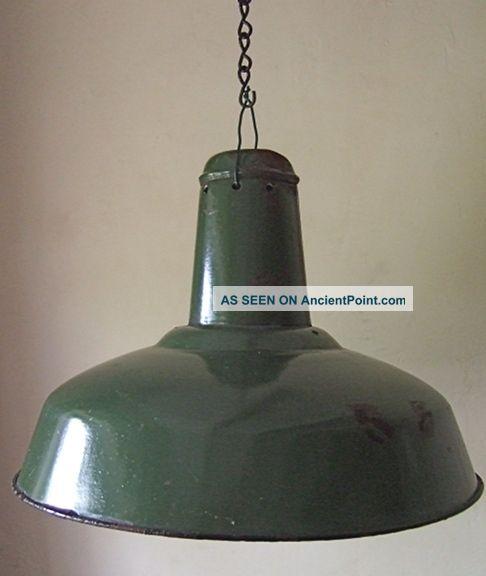 Large French Green & White Enamel Industrial/loft Light - 1930 ' S Retro 20th Century photo