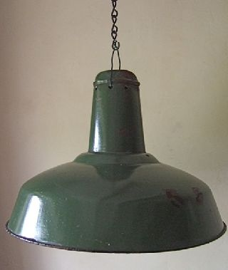 Large French Green & White Enamel Industrial/loft Light - 1930 ' S Retro photo