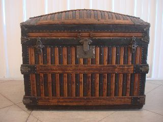 Rare 1800 ' S Antique Martin Maier Oak Slat Steamer Trunk Dome Top Chest photo