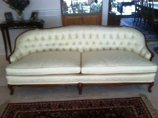 Exquisite French Provincial Sofa - White Tufted Back photo