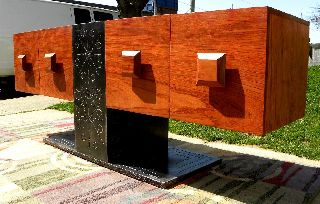 Credenza Solid Cocobolo Wood Steel Garry Zayon Mid Century Modern Eames photo