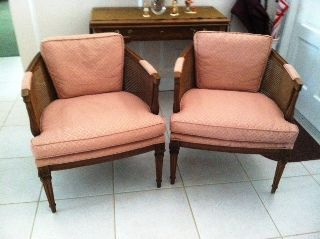 Lovely French Provincial Chairs With Cane Backing On The Curved Back & Sides photo