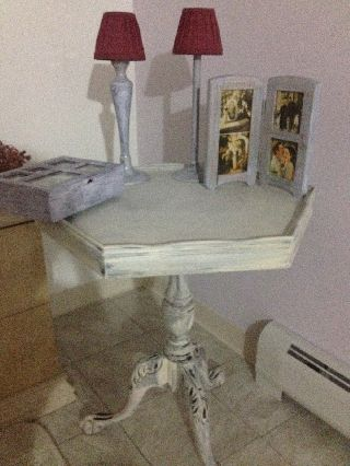 Refurbished And Distressed Shabby Chic White Antique Table photo