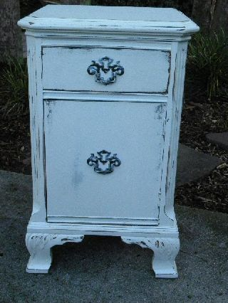 Vintage Cottage Chic Painted Small Cabinet Side Table photo