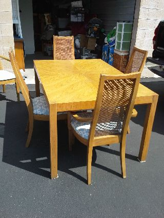 Vintage Dining Table With Cane Back Chairs photo