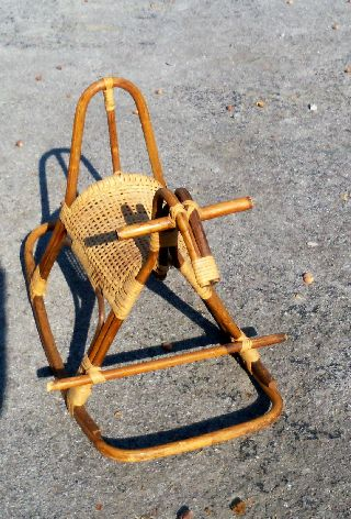 Antique Rocking Horse Rattan Vintage 1960 - 70 ' S photo