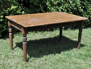 Solid Wood Antique Primitive Farm Kitchen Dining Table photo
