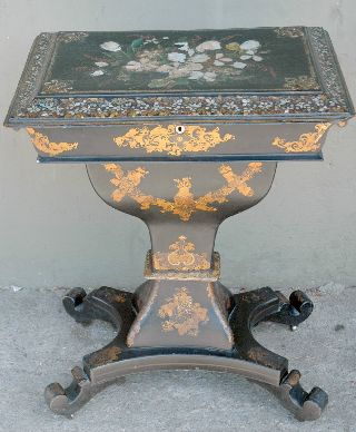 Victorian - Era French Paper Mache Sewing Stand With Mother - Of - Pearl Inlay ~ 1880 photo
