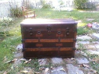Antique Steamer Trunk Vintage 1900 Flat Top Victorian Chest Great Table photo