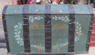 Antique Swedish Immigrant Trunk Dated 1849 Green W/ Floral & Foliate Decoration photo