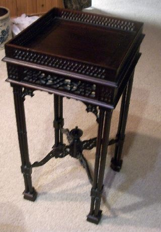 Chinese Chippendale Candle Stand Small Table - Very Ornate photo