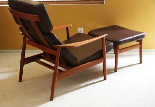 Arne Vodder Teak Lounge Chair Ottoman Danish Modern Mid Century Finn Juhl Eames photo