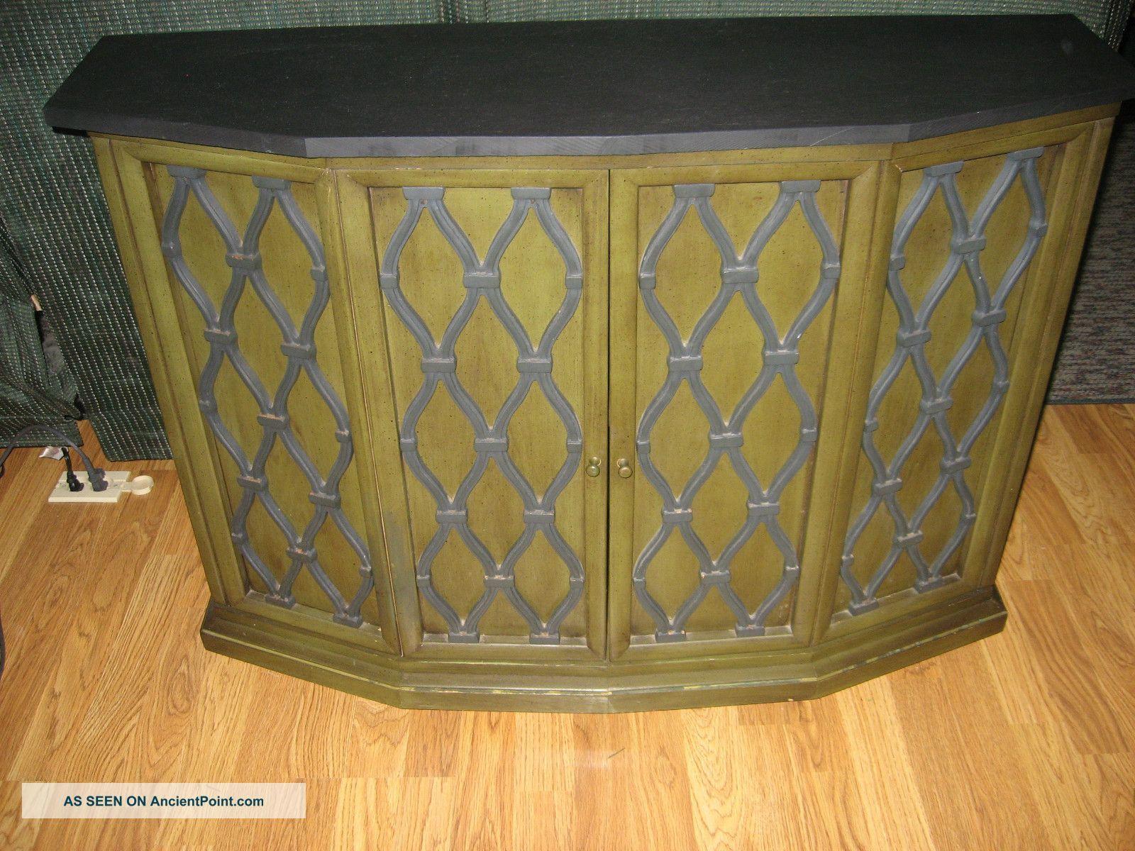 Vintage Brandt Furniture Liquor Cabinet Avocado Green Slate Top 1900-1950 photo