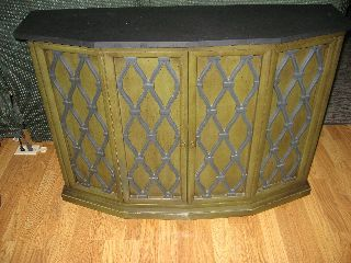 Vintage Brandt Furniture Liquor Cabinet Avocado Green Slate Top photo