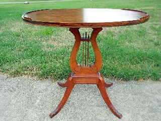 Antique Depression Era Duncan Phyfe Style Oval Top Side Table photo