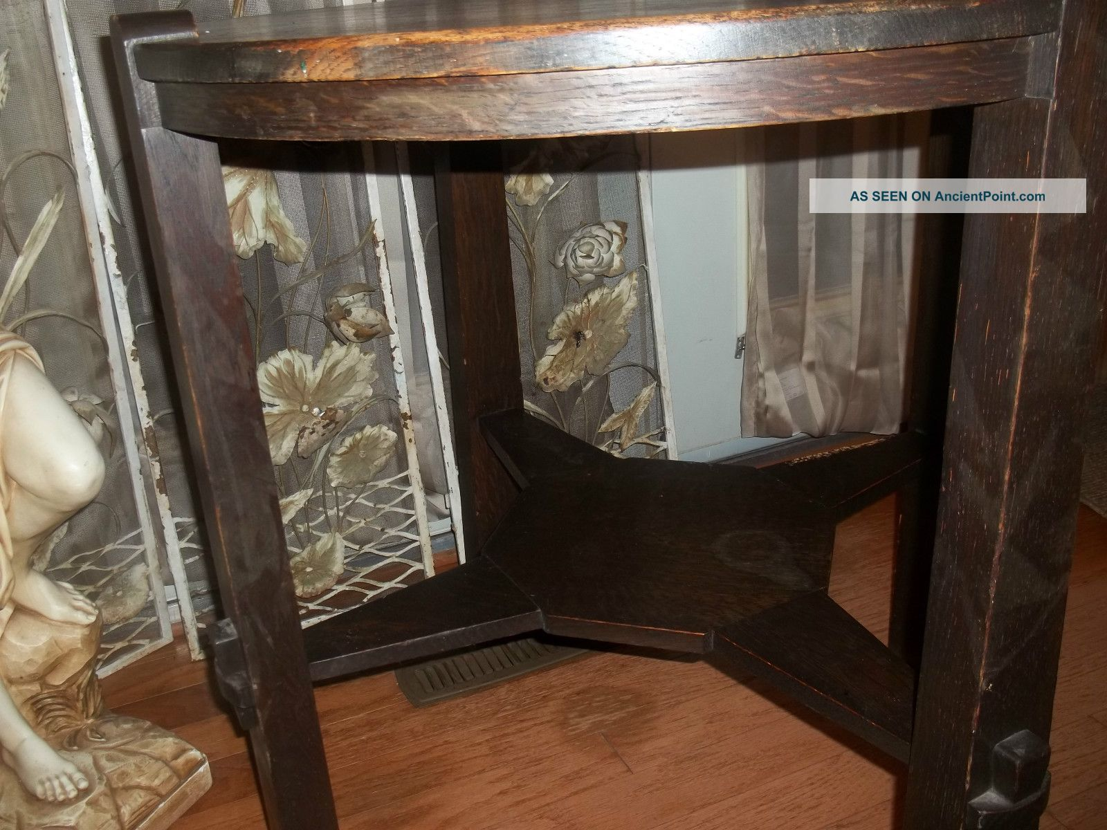 Limbert Arts And Craft Lamp Table Plus Rare Early Miller Center Table 1900-1950 photo