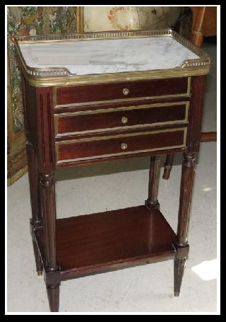 Unusual Antique Directoire Style Marble Gallery Top Night Stand Or End Table Nr photo