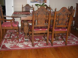 Antique Carved Oak Dining Room Set photo