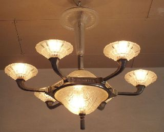 Exceptional & Rare French Art Deco Hettier & Vincent Chandelier Nickel Bronze photo