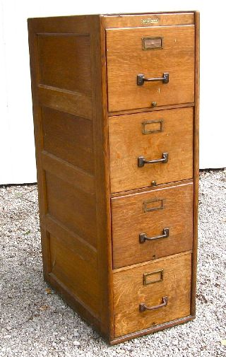 Antique 4 Drawer Wagemaker Quartersawn Oak File Cabinet Grand Rapids Mi.  1910 photo