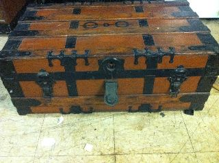 Antique Flat Top Steamer Trunk 1900 - 1910? 32x19x12 Leather Straps Hardware photo