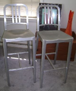 Pair - Emeco - Navy Chairs/ Barstools Brushed Aluminum Retro photo