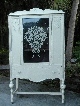 Vintage Cottage Chic China Cabinet Antique Cupboard Painted Furniture photo